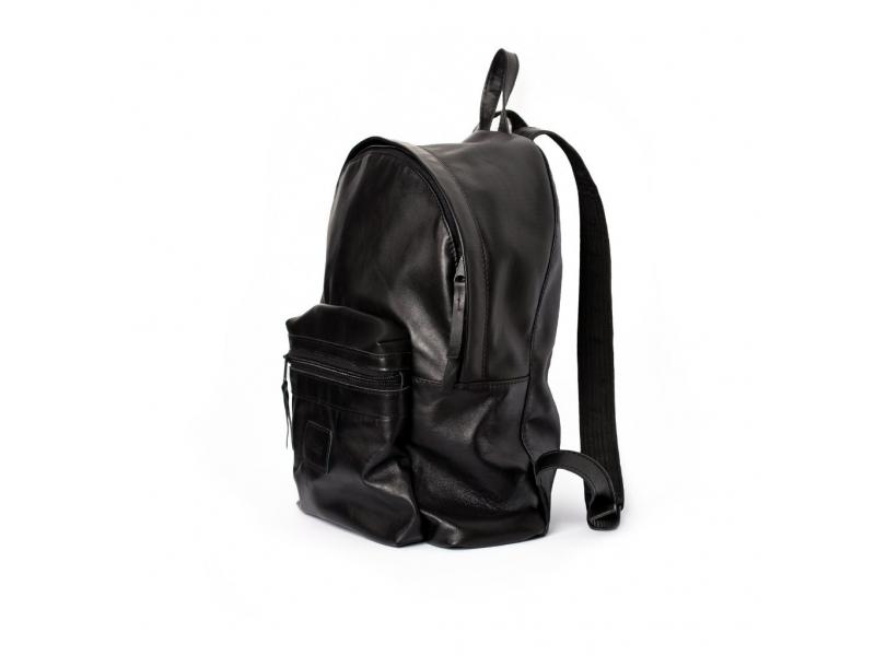 60dc081c2981 ... Кожаный молодежный рюкзак ручной работы черный купить по лучшей цене