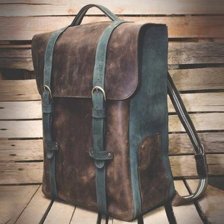 Кожаный рюкзак ручной работы Leather Backpack Mod