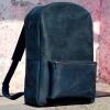 Рюкзак кожаный темно-синий Backpack Leather
