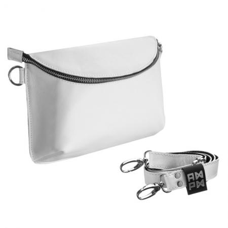 Поясная сумка кожаная Nappa White