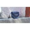 Женская сумка через плечо кожаная Round синяя