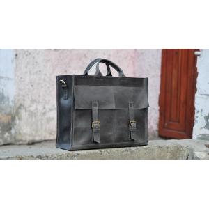 Сумка кожаная Bag Leather Gray Unisex