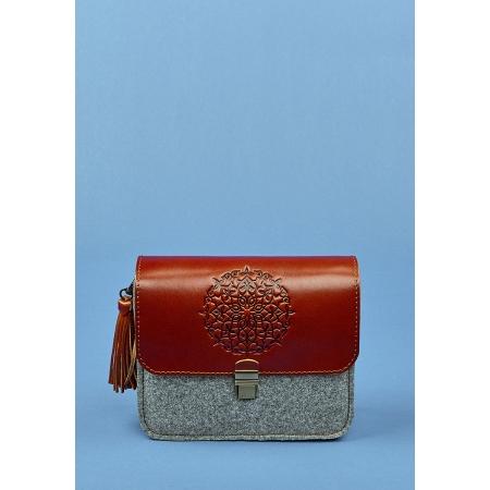 Бохо-сумка Лилу фетр+кожа коньяк