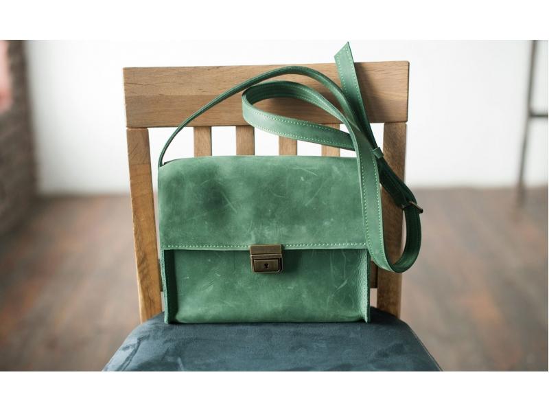 b0653494bb29 Кожаная сумка через плечо кожаная зелёная купить по лучшей цене