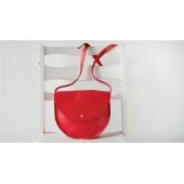 Фото Кожаная женская сумка через плечо Round красная