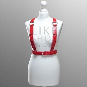 Женская красная кожаная портупея Belt Leather