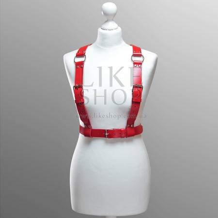 Кожаная портупея ручной работы Belt Leather Red