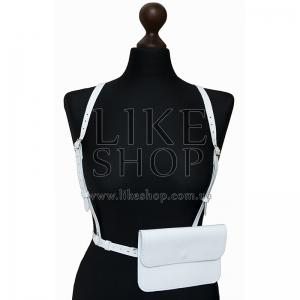 Женская портупея с кобурой белая Belt Leather White