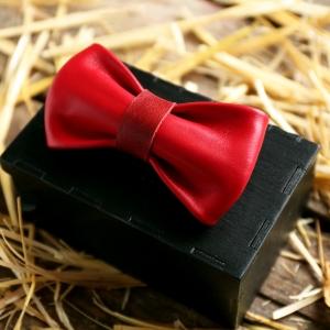 Галстук-бабочка BowTie Leather Red