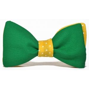 Галстук-бабочка зеленая в желтый горошек