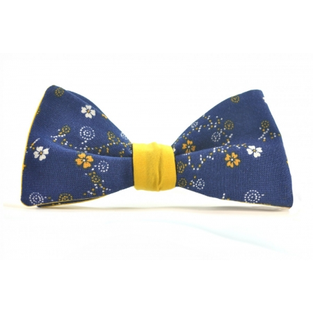 Бабочка-галстук желто-синяя в цветочек Yellow Spring купить по лучшей цене