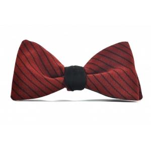 Галстук-бабочка красная в коричневую полоску Red Vine Stripes
