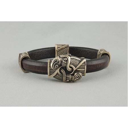 Браслет кожаный викинг с воронами арт. 875