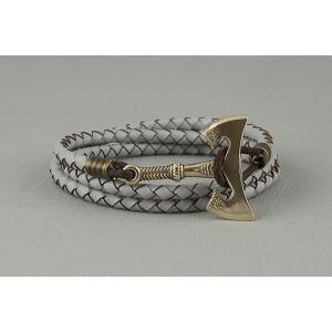Кожаный плетеный браслет с секирой арт. 776