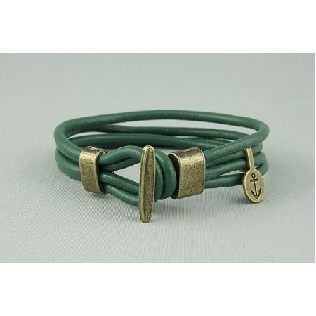 Браслет из кожаных шнуров с якорем зеленый 620