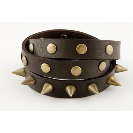 Кожаный браслет с шипами купить по лучшей цене