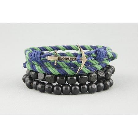 Браслет двойной с якорем зелено-синий 569