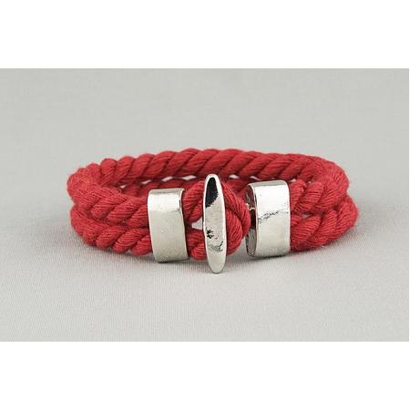 Браслет плетеный хлопковый красный 392
