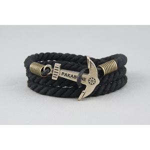 Браслет с якорем черный 633