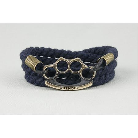 Браслет плетеный из шнура с кастетом темно-синий 700