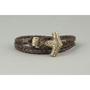 Кожаный плетеный браслет с молотом Тора арт. 812