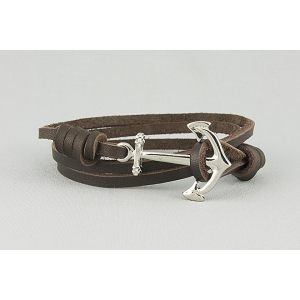 Браслет из кожаных шнурков с длинным якорем 385