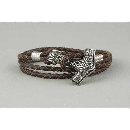 Браслет кожаный плетеный с молотом Тора арт. 811
