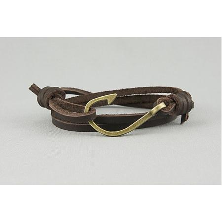 Браслет из кожаных шнуров с золотым крючком 382