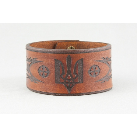 Кожаный браслет с украинским тризубом купить по лучшей цене