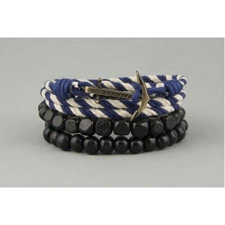 Браслет двойной с якорем сине-белый 579