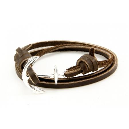 Браслет из кожаных шнурков с якорем коричневый 033