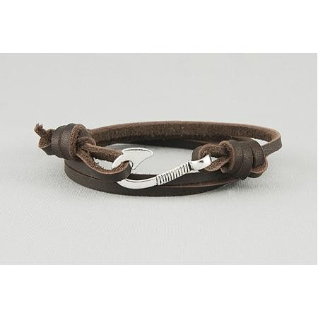 Браслет из кожаных шнуров с металическим крючком 384
