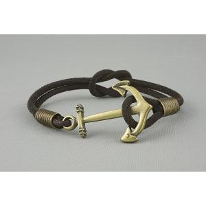 Браслет из кожаных шнурков с узлом и якорем 581