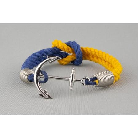 Хлопковый браслет с якорем желто-синий купить по лучшей цене