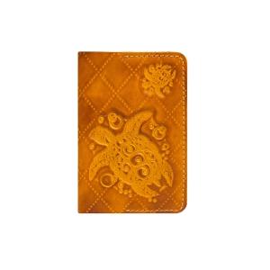 Кожаная обложка на паспорт оранжевая Passpartu Turtle-X Orange