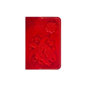 Кожаная обложка на паспорт красная Passpartu Turtle-X Red