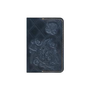 Кожаная обложка на паспорт синяя Passpartu Turtle-X Blue