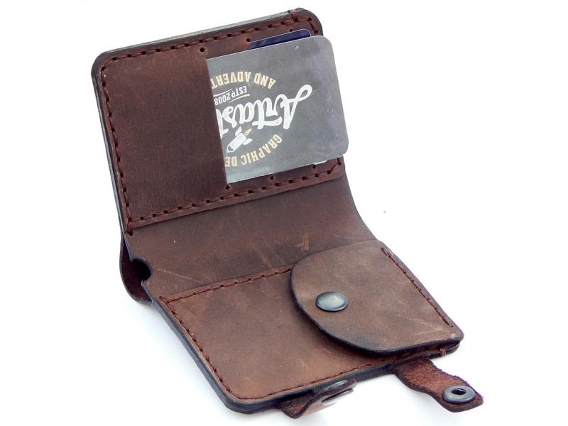 5acf103be2c4 Мужской кожаный кошелек ручной работы Bi-fold Lotier Brown купить по лучшей  цене
