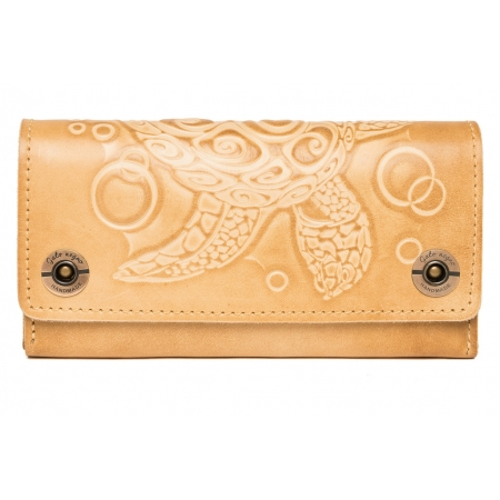 Женский кожаный кошелек ручной работы Alfa Turtle Ivory Beige