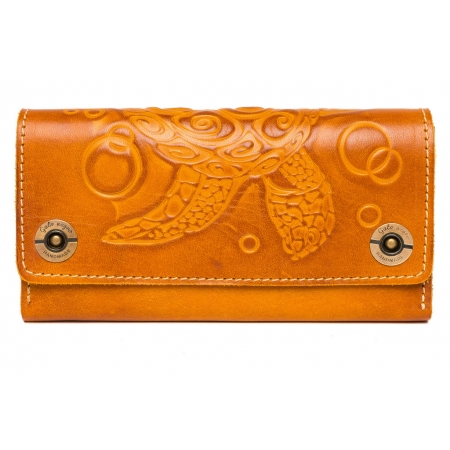 Женский кожаный кошелек ручной работы Alfa Turtle Orange