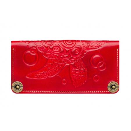 Женское кожаное портмоне ручной работы Turtle Red
