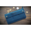 Бумажник кожаный синий Wide
