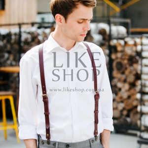 Подтяжки мужские Leather Suspenders Business
