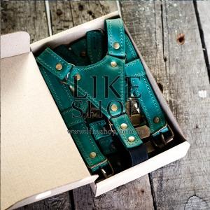 Подтяжки мужские Leather Suspenders Social