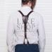 Мужские подтяжки кожаные коричневые Leather Suspenders